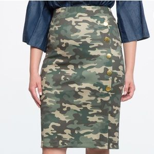 Eloquii Camo Pencil Skirt with Gold Buttons- Sz 16